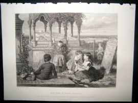Children 1872 Steel Engraving. The Tomb of Grace Darling
